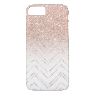 Chic faux rose gold glitter ombre modern chevron iPhone 7 case