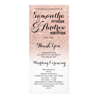 Chic faux rose gold glitter ombre Wedding Program