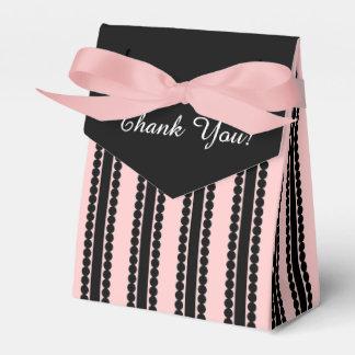 "CHIC FAVOR/GIFT BOX_""Thank You"" BLACK/PINK STRIPE Favor Box"