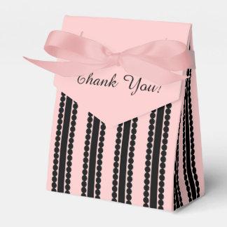 "CHIC FAVOR/GIFT BOX_""Thank You"" BLACK/PINK STRIPE Favor Boxes"