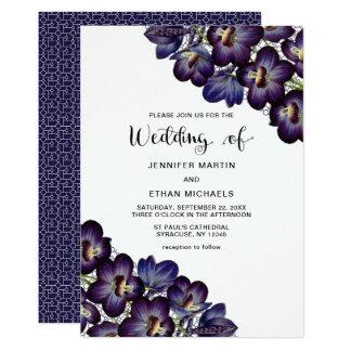 Chic Feminine Dark Purple Floral Wedding Card