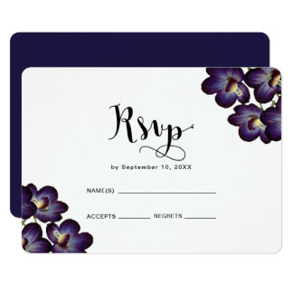 Chic Feminine Purple Floral Rsvp Wedding Card