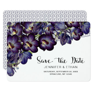 Chic Feminine Purple Floral Save the Date Wedding Card