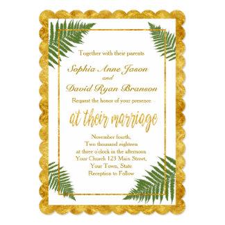 Chic Fern Leaves Gold Foil Wedding Invitation