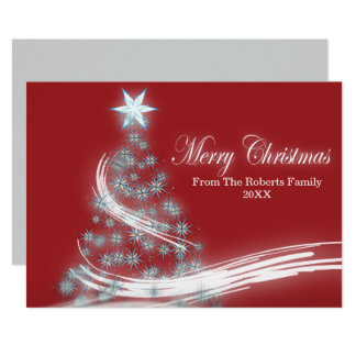 chic festive xmas evergreen Christmas Tree Card