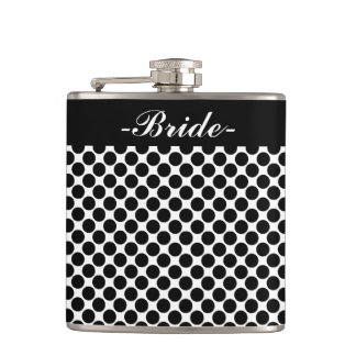"CHIC FLASK_""Bride"" BLACK DOTS ON WHITE Flask"