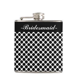 """CHIC FLASK_""""Bridesmaid"""" BLACK DOTS ON WHITE Flask"""