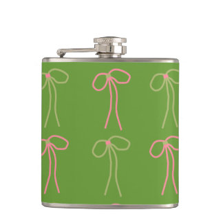 CHIC FLASK_GIRLY PINK/GREEN BOWS FLASK