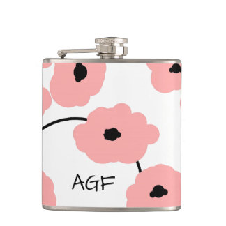 CHIC FLASK_MOD, BOLD BLUSH PINK AND BLACK POPPIES HIP FLASK