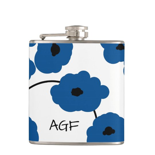 CHIC FLASK_MOD, BOLD LAPIS BLUE AND BLACK POPPIES HIP FLASK