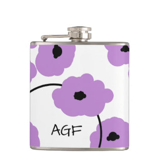 CHIC FLASK_MOD, BOLD LAVENDER AND BLACK POPPIES HIP FLASK