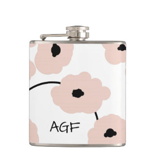 CHIC FLASK_MOD, BOLD PALE PINK AND BLACK POPPIES HIP FLASK
