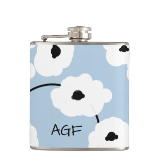 CHIC FLASK_MOD, WHITE AND BLACK POPPIES HIP FLASK