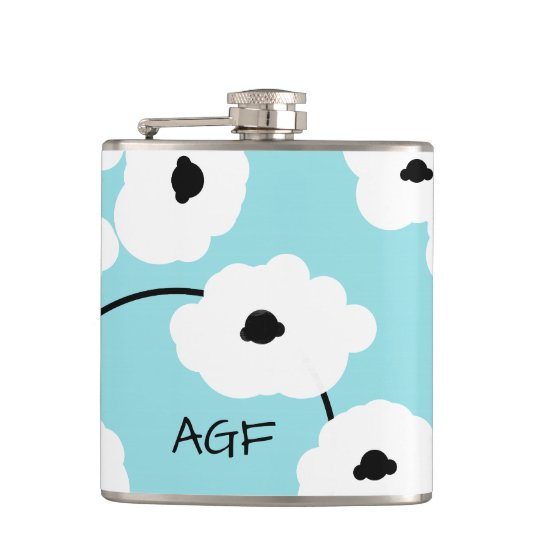 CHIC FLASK_MOD WHITE & BLACK POPPIES HIP FLASK