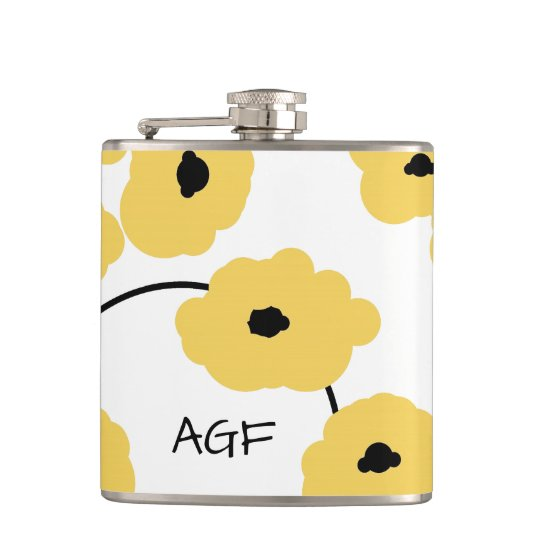 CHIC FLASK_MOD YELLOW & BLACK POPPIES HIP FLASK