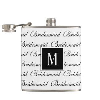 "CHIC FLASK_MODERN WHITE/BLACK ""Bridesmaid"" Flask"