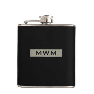 CHIC FLASK_TAUPE TAG WITH MONOGRAM ON BLACK HIP FLASK