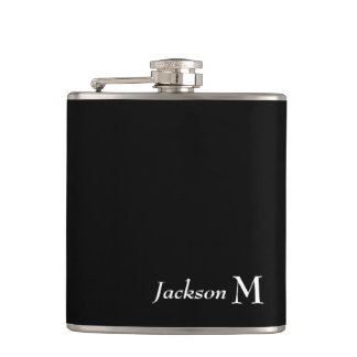 CHIC FLASK_WHITE NAME/MONOGRAM ON BLACK FLASK