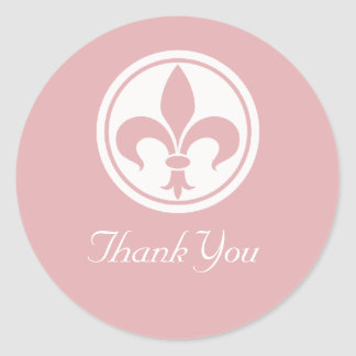 Chic Fleur De Lis Thank You Stickers, Pink