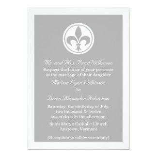 """Chic Fleur De Lis Wedding Invite, Gray 5"""" X 7"""" Invitation Card"""