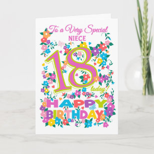 Chic Floral 18th Birthday For Niece Card