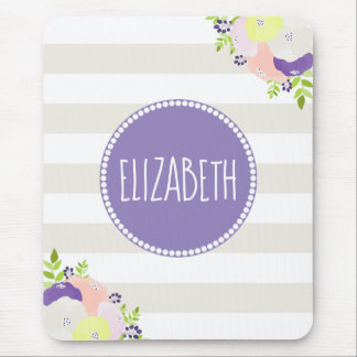 Chic Floral Beige Striped Purple Monogram Name Mouse Pad