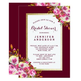 Chic Floral Bridal Shower Invite | Marsala Pink