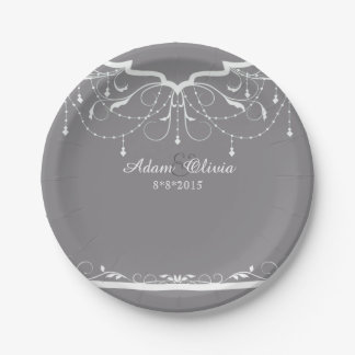Chic Floral Chandelier Grey Wedding Paper Plate