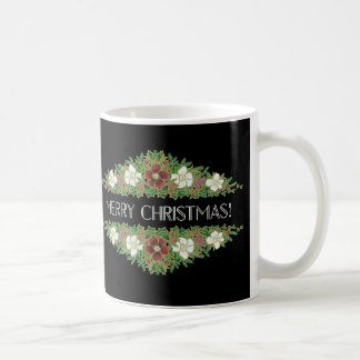 Chic Floral Christmas Roses, Hellebores, Holly Ivy Coffee Mug