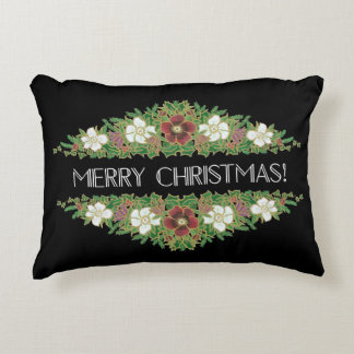 Chic Floral Christmas Roses, Hellebores, Holly Ivy Decorative Pillow