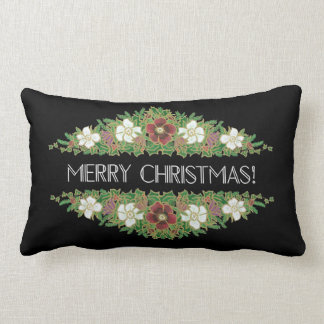 Chic Floral Christmas Roses, Hellebores, Holly Ivy Lumbar Pillow