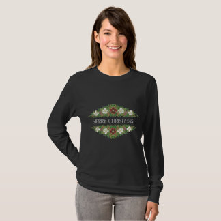 Chic Floral Christmas Roses, Hellebores, Holly Ivy T-Shirt