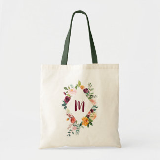 Chic Floral Diamond Frame Personalized Tote Bag