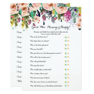 Chic Floral Garden Baby Shower Games x2 Card
