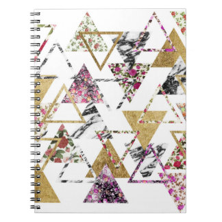 Chic Floral Gold Marble Geometric Triangles Notebook