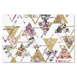 Chic Floral Gold Marble Geometric Triangles Tissue Paper