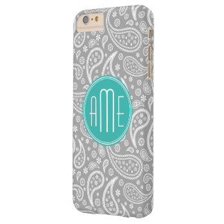 Chic Floral Gray Paisley Pattern & Aqua Monogram Barely There iPhone 6 Plus Case