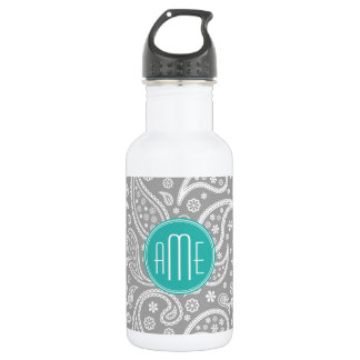 Chic Floral Gray Paisley Pattern & Blue Monogram