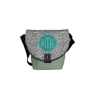 Chic Floral Gray Paisley Pattern & Blue Monogram Courier Bags