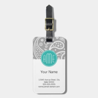 Chic Floral Gray Paisley Pattern & Blue Monogram Luggage Tag