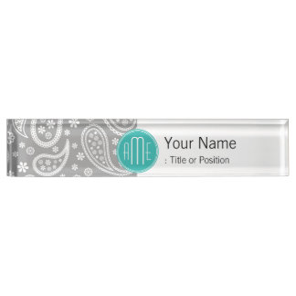 Chic Floral Gray Paisley Pattern & Blue Monogram Name Plate
