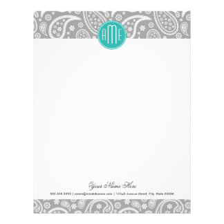 Chic Floral Gray Paisley Pattern & Blue Monogram Personalized Letterhead