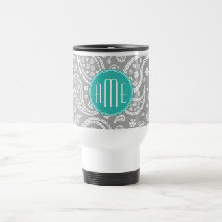 Chic Floral Gray Paisley Pattern & Blue Monogram Travel Mug