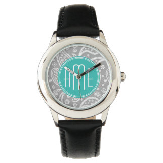 Chic Floral Gray Paisley Pattern & Blue Monogram Wristwatches