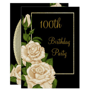 Chic Floral Ivory Roses 100th Birthday Card