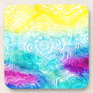 Chic floral lace henna mandala bright watercolor coaster