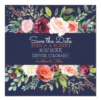 Chic Floral Navy Blue Save the Date Card