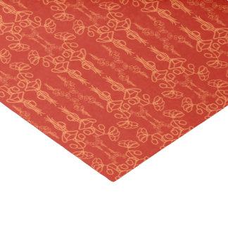 Chic Floral Orange on Red Poppy Flower Outline Tissue Paper