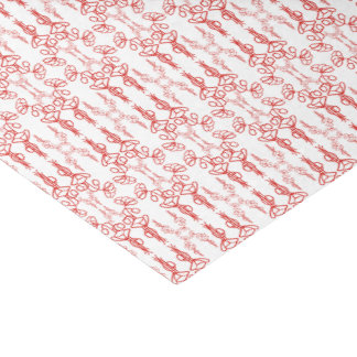 Chic Floral Red on White Poppy Flower Outline Tissue Paper