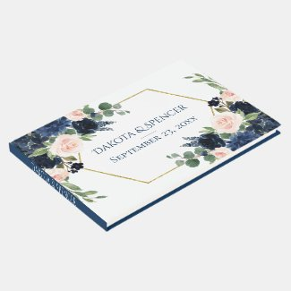 Chic Floral | Romantic Blush  Navy Gold Frame Guest Book